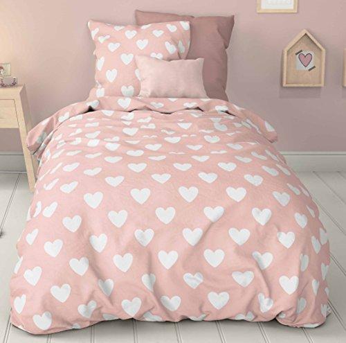 Aminata Kids – Bettwäsche 100x135 cm Baumwolle + Reißverschluss Herzen Herzchen Rosa Weiß Mädchen Kinderbettwäsche Bettbezug Bezug Ganzjahr Normalgröße (Mädchen Kopfkissenbezug)