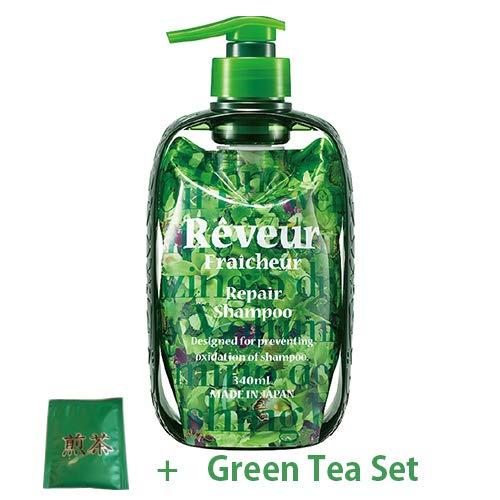 Reveur Fraicheur Repair Hair Shampoo Dispenser Set 340ml - Green Floral Scent (Green Tea Set)