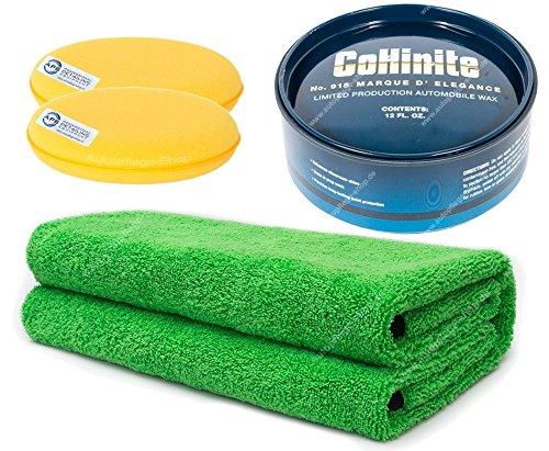 Collinite Marque d`Elegance Carnauba Paste Wax No.915 340gr. +2 Pads + APS Pro Green Pepper Edgeless Microfasertuch 380GSM 45x45cm