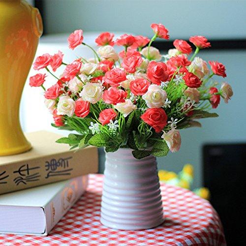 XIN HOME Fake Blume künstliche Blume Set Wohnzimmer Dekoration dekorativ Blume Silk Flower Ornament Dekoration Kunststoff Blumentopf Potted Flower Bouquet, Lila Rot dreifarbige - Flower Bouquet Lila Silk
