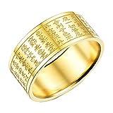 AnazoZ Schmuck Edelstahl Herren Bands Ringe Eingraviert Chinese Sutras Gold 10Mm Größe 54 (17.2)