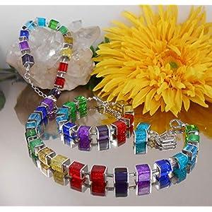 3er Set Collier Ohrringe Armband Würfel Glas + Crash Multicolor Bunt /1003S