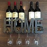 Portabottiglie in metallo da parete, 4supporto di vetro a stelo lungo & Wine Cork Storage by Soduku