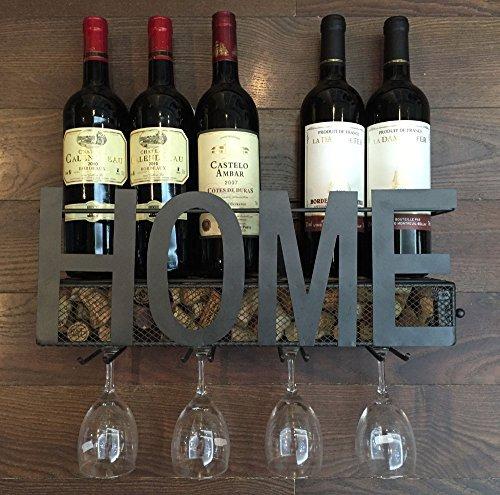 Soduku - portabottiglie da parete in metallo, per bottiglie di vino, con 4 supporti per bicchieri a stelo lungo e scomparto per i tappi in sughero