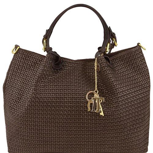 Tuscany Leather TL KeyLuck - Borsa shopping in pelle stampa intrecciata - Misura Grande Testa di Moro Borse donna a tracolla