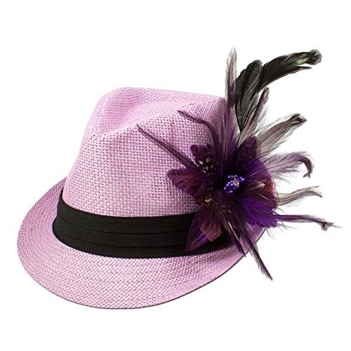 Alpenflüstern Damen Strohhut Trachtenhut rosa mit Feder-Clip ADV03100070 lila - 2