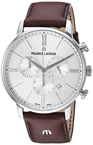 Maurice Lacroix Men's 'Eliros' Quartz Stainless Steel and Leather Casual Watch, Color:Brown (Model: EL1098-SS001-110-1)