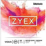 D'Addario Bowed Jeu de cordes avec Ré en argent pour violon D'Addario Zyex, manche 4/4, tension Medium