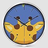 YANXUEPING Cute Cartoon Kinderzimmer Wanduhr, Super Leise Wohnzimmer, Moderne Kreative Einfache Uhren, modische Quarz Wanduhr, 10 Zoll, kleine Hirschkopf silbernen Rahmen
