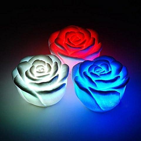 DOLDOA LED Licht,3pcs Rose LED Lichter Haupt DIY Familien Kunst-Dekoration für Kinder und Paare (A)