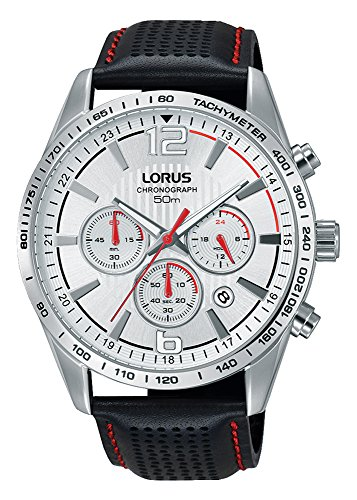 Lorus Mens Chronograph Quartz Watch with Leather Strap RT391FX9