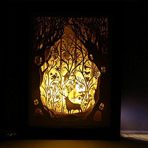 OOFAY LIGHT® Licht und Schatten Papier Geschnitzt Lampe Forest Deer Dekoration Schreibtischlampe DIY Geburtstag kreative Handarbeit -