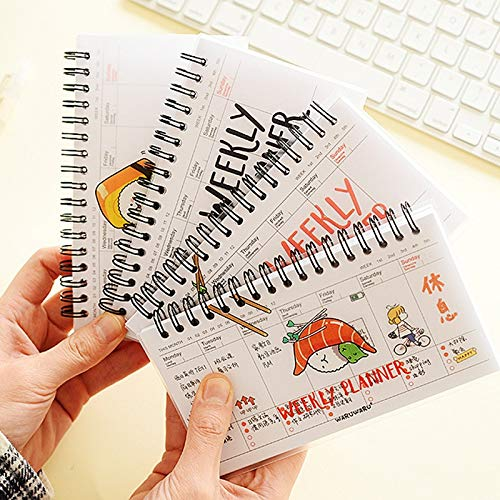 Feature:Inspiration: Sushi.Color: 4 style.Body Material: Paper, safe and healty for human body and environment.Size: 16.1*9.7cm, 54 sheets.Weight: 100g.Function: Notebook / Diary / Gift / Promotion.Tip: This is 4 pieces/Lot, mix with 4 design. Weekly...