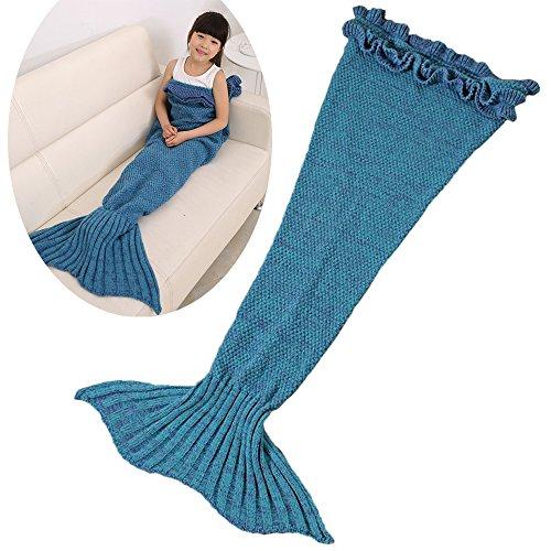 Likeep Kinder Meerjungfrau Decke Mit Lotus-Spitze Gestrickte Meerjungfrauschwanz - Decke Kuschelige Flauschedecke Spezielle Blanket Quilt auf Sofa ,im Auto ,oder im Schlafzimmer, 140cm x 70cm (LxB) (Blau) (Couch Quilt)