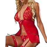 Women Sexy Lingerie Underwear Hmeng Deep V Halter Lace Bodysuit Racy Strap Suspender Bodysuit Nightwear (Free Size, Red)