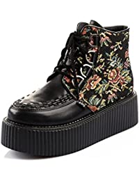 RoseG Femmes Cuir Broderie Lacets Coin Baskets Compensées Chaussures eQSfW