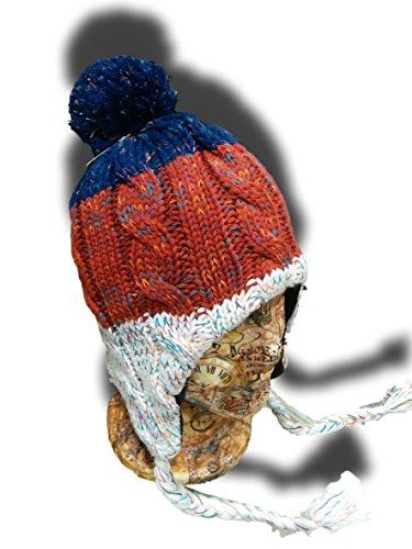 Chullo-Chilean Headwear-Blue RED-BORDò White-Artic Style-for Winter-Earflap-hq -