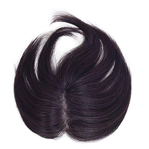 Seide Perücken Top (remeehi Echthaar Topper Clip in Haar Top Stück für Frauen Gerade Toupets Perücke Seide Fuß 12* 6cm, natur schwarz 20cm)