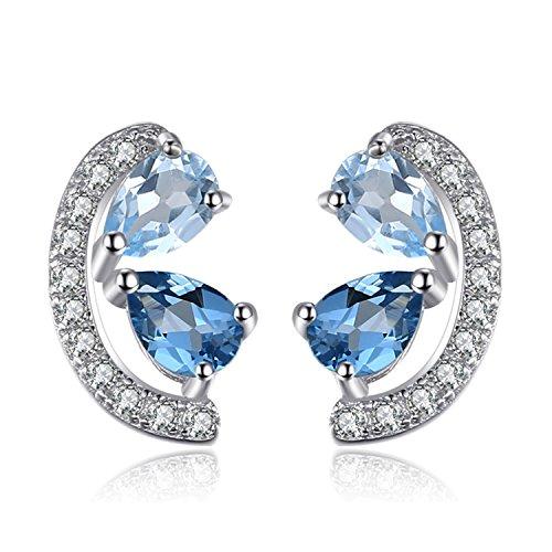 JewelryPalace Donna Gioiello 0.8ct Genuino Naturale Azzurro Topazio e Londra Topazio Blu Orecchini Argento Sterling 925