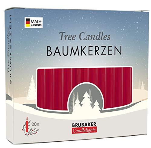 Brubaker-20Pack Algodón Velas Cera Velas de Navidad Pirámide Velas Velas Árbol de Color Rojo Oscuro