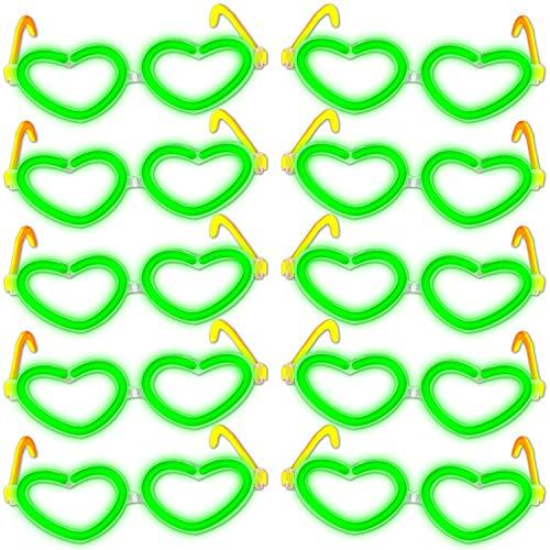 10 Knicklichter Herzbrillen GRÜN Universalgröße im Komplettset