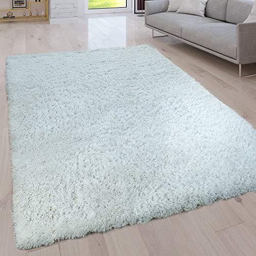 Paco Home Hochflor Wohnzimmer Teppich Waschbar Shaggy Uni In Versch. Größen u. Farben, Grösse:80x150 cm, Farbe:Ivory (Creme) -
