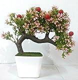 #8: Hyperboles Bonsai Wild Plant Artificial Plant(Pink) with Pot
