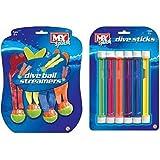 M.Y Underwater Tauchgang Bälle & Stecken Schwimmen/Tauchen Absinken Pool Spielzeug - Doppel Packung