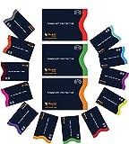 Navy blau RFID Hülle RFID-Schutzhüllen, 15er-Set mit Farbkodierung | 12 x Kreditkartenhüllen + 3 x Reisepass-Schutzhüllen | Ultimative Anti-Diebstahlpackung (Marineblau)