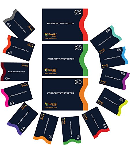 Navy blau RFID Hülle RFID-Schutzhüllen, 15er-Set mit Farbkodierung | 12 x Kreditkartenhüllen + 3 x Reisepass-Schutzhüllen | Ultimative Anti-Diebstahlpackung (Marineblau) (Kantine-set)