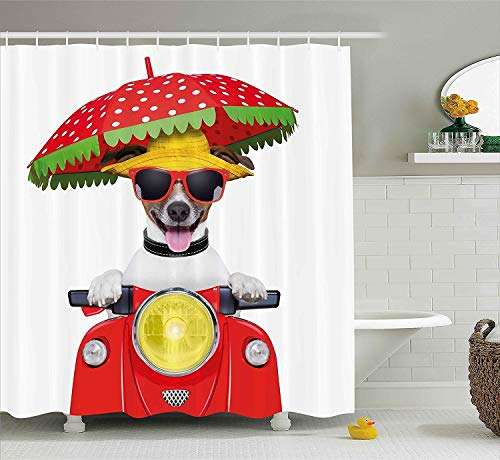 Animal Shower Curtain, Dog with a Hat and Sunglasses Driving Motorcycle Under an Umbrella Funny Holiday Image, Fabric Bathroom Decor Set with Hooks, 60x72 Inches, Red
