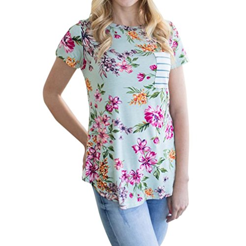 Happy Event_women tops Frauen Sexy Mode Freizeit Streifen Druck Kurzarm T-Shirt Bluse (Minzgrün, XL)