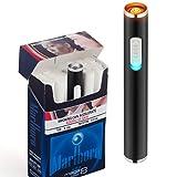 Auratrio Mini USB Elektronisches wiederaufladbar Feuerzeug Stabfeuerzeug Winddicht und Flammenloses, Kein Gas oder Benzin, Schwarz