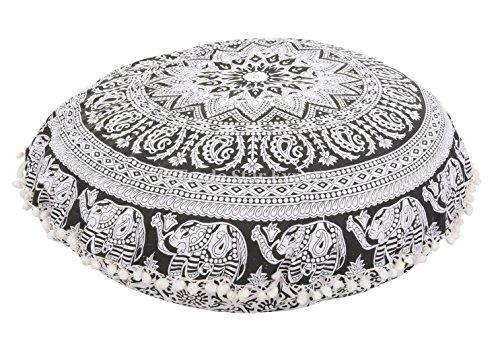 worldwideretailers Dekorative Mandala Kissen Sham, Indian Bohemian Ottoman Puffs, POM POM Kissen, Sitzkissen Outdoor, Hülle Große 81,3cm