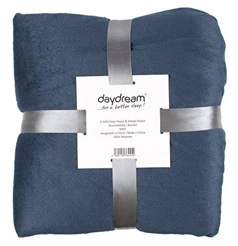 daydream: flauschige Kuscheldecke aus Polar/Sherpa Fleece, 150 x 200 cm, dunkelblau / weiß (K-2003)