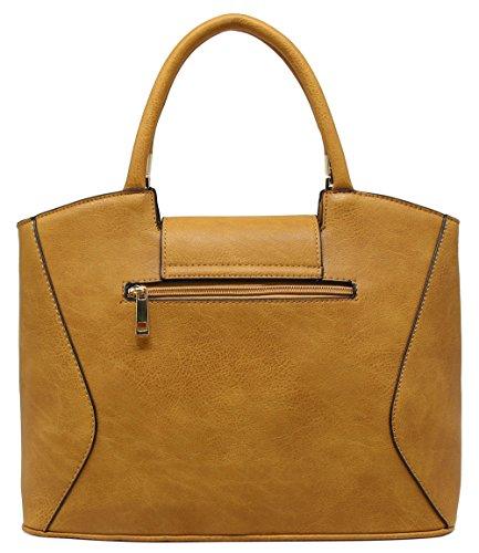 CRAZYCHIC - Damen Handtasche mit Klappe und gold Platte - Mode Tasche Schwarz und Weiß