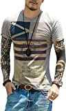 Jeansian Hommes Mode Manche Courte Casual Shirt Mens Fashion Short-Sleeve Slim Fit T-Shirt Tops Tee AMA002 LightGray XS(M)