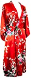 CCcollections Kimono Robe Long 16 Colors Prämie Peacock Bridesmaid Bridal Shower Womens Gift (Rot)