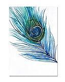wowdecor Art Wand Moderne Leinwand Prints Gemälde–Blau Pfauenfeder Giclée-Bilder auf Leinwand gedruckt, Wanddekoration für Home Wohnzimmer Schlafzimmer–Gerahmt, Large