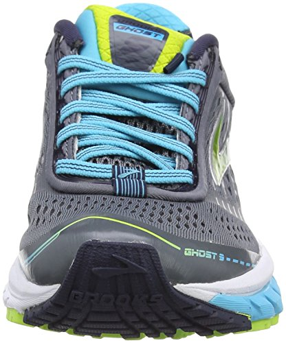 Brooks Ghost 9, Chaussures de Running Entrainement Femme Multicolore (Silver/Blue/Lime)