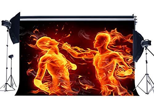MMPTn 7X5FT flammenden Boxer Hintergrund Faustkämpfer Kulissen 3D Kreative Infighter Athletic Sports Interior Gymnasium Fotografie Hintergrund für Erwachsene Aktivität Wettbewerb Fotostudio Prop -