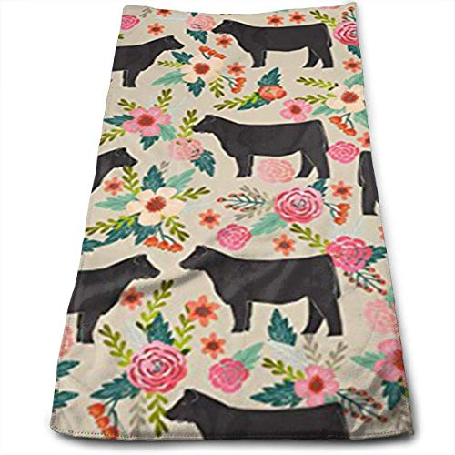ewtretr Asciugamani Viso-Mani,Show Steer Cows Farm Barn Florals Design Microfiber Large 11.8'X27.5' Towels, Best for Outdoor, Sports, Travels, Quick Drying And Super Absorbent Technology
