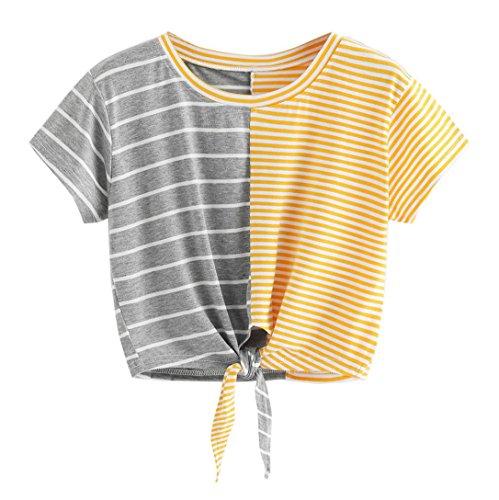 TUDUZ Damen Sommer Kurzarm O-Ausschnitt Streifen Tee Bow Bandage Bluse Tops T-Shirt Oberteil (Mehrfarbig, S)