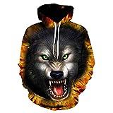 XDDQ Herren Fitness-Sweatshirts,Kapuzen-Sweatshirt EuropäIsche Und Amerikanische Tiger Kopf 3D Digital Mit Kapuze Kleidung Baseball-Anzug