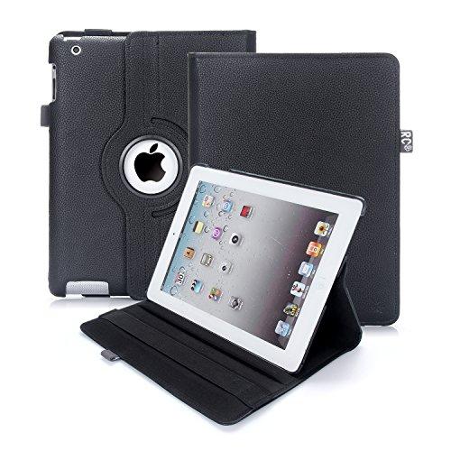 iPad 2/3/4 Hülle, RC iPad 2 3 4 360 drehende Smart Hülle PU Leder Abdeckung Gehäusedeckel für Apple iPad 2 3 4 (Schwarz)
