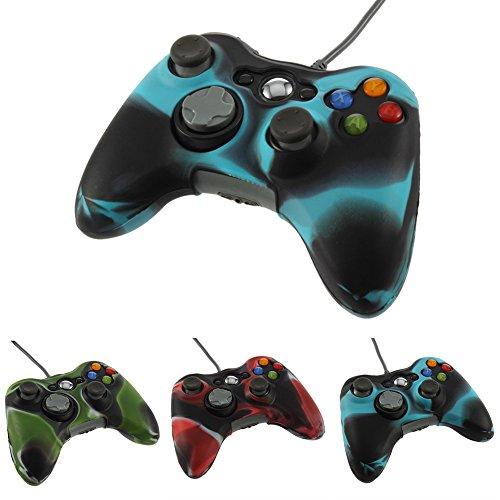 dition Drahtlose Gamepad Game Controller Joystick USB Modell |Dual Vibration |Plug & Play |LED-Anzeige kabellos unterstützt Tragbare kompatibel für Xbox 360 Wireless Blue+Black ()