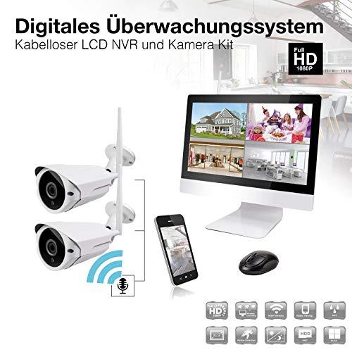 12 Zoll Überwachungs-Kamera Set NVR WLAN IP Funk Überwachungssystem mit 2-4 x WiFi W-LAN Kameras mit Mikrofon Bewegungserkennung 1080p Full HD (2 Kameras)