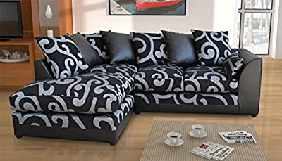 New Zina Black Swirl Fabric Corner Sofa with 2 or 3 Seater, Footstool, Armchair by Abakus Direct