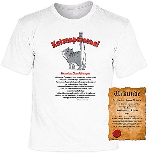 Witziges Tier- Spaß-Shirt + gratis Fun-Urkunde: Katzenpersonal Weiß