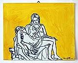 Dipinto della Pietà di michelangelo-Studio su cartoncino telato eseguito ad acrilico dimensioni cm 30x24x0,3 cm-MADE in ITALY Lucca Toscana, certificato.Pronto per essere appeso al muro.Creato da Davide Pacini.